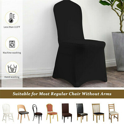 £189.92 • Buy 50/100PCS Black Polyester Spandex Chair Covers For Wedding Party Dining Banquet