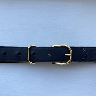 £65 • Buy Burberry Leather Belt In Black Gold Buckle 85cm