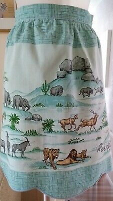 £6.99 • Buy Vintage Half Apron Pinny 1950's / 1960's Printed With African Animals