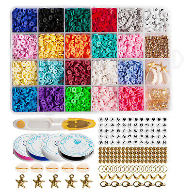 £15.82 • Buy 1 Set Polymer Clay Beads Bracelet Jewelry Making Finding Flat Round Spacer Beads