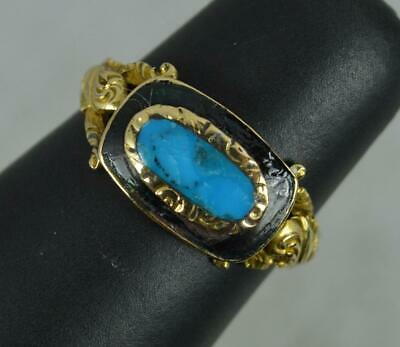 £425 • Buy Victorian 18 Carat Gold Turquoise Enamel Mourning Cluster Ring
