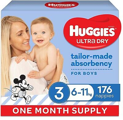 AU62 • Buy Huggies Ultra Dry Nappies Boy Size 3 (6-11kg) 1 Month Supply 176 Count