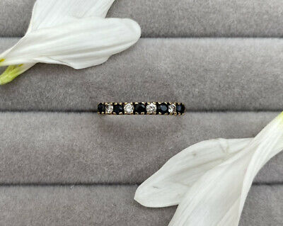 £10.50 • Buy Vintage Sapphire And CZ Half Eternity 9ct Solid Gold Ring