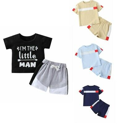 £12.01 • Buy Infant Baby Boys Summer Outfits Short Sleeve Top T-shirt Shorts Set Sport Suit