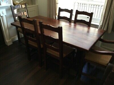 £500 • Buy Stunning INDONESIAN ROSEWOOD Dining Refectory Table  Six Padded Chairs