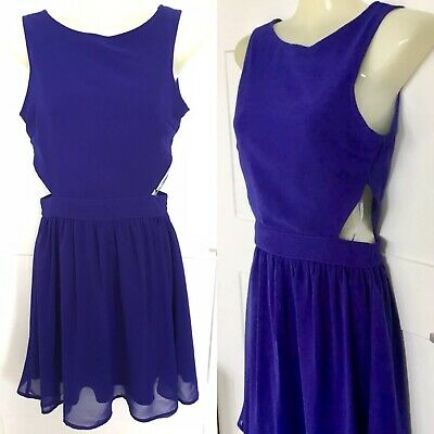 """£5 • Buy Ark Hearts And Bows ~ Party Blue Cutout Mini Dress Size 6 UK /32"""""""