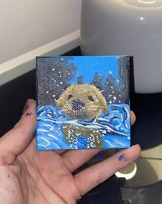 £10 • Buy Mini Canvas Painting - Puppy Swimming In The Sea