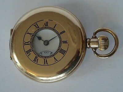 £295 • Buy Very Good Antique Gold Plated, Record Watch Co., Half Hunter Cased Pocket Watch