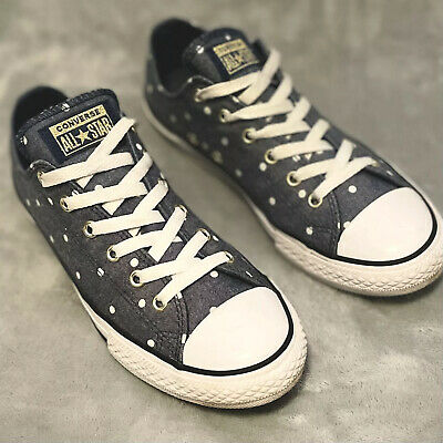 £7.57 • Buy Converse All Star Shoes Size 7 Women Low Top Blue Denim White Dots Used In EUC