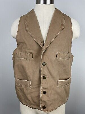 $35 • Buy VTG Scully L Large Brown Cotton Canvas 5 Button Western Vest Buckle Workwear