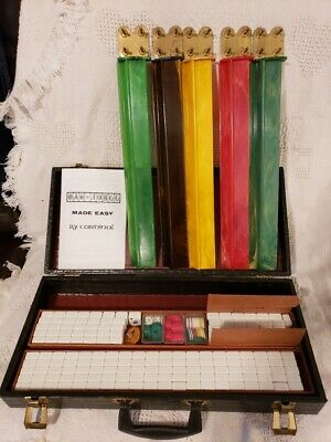 $145 • Buy Vintage 1950s Mah Jong Set In Nice Leather Case With Bakelite Or Celluloid Trays