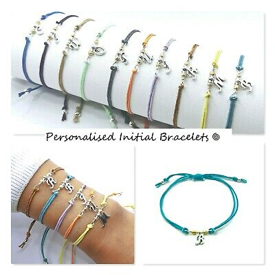 £2.50 • Buy Personalised Initial Letter Cord/string Bracelet/silver Charm Bead