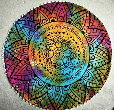 £10.99 • Buy Colourful Ombre Mandala Cotton Indian Large Round Floor Cushion Cover 32  Inch