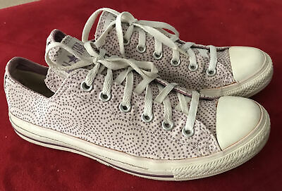 £3.40 • Buy Converse All Star Ox Shoes Sneakers Lilac Purple Spots Hearts Size UK8 Preloved