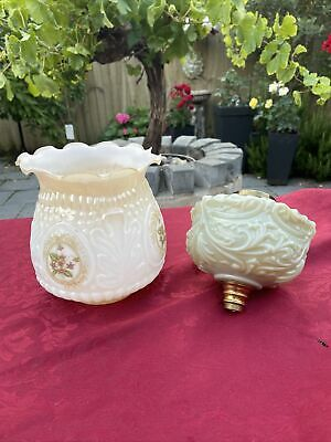 £25 • Buy Vintage Rigged White Floral Glass Oil Lamp Shade & Pastel Green Oil Lamp Base