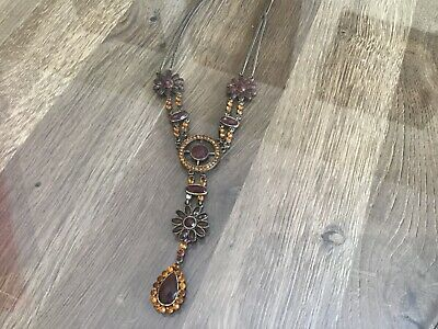 £15.99 • Buy Brown Jewelled Necklace Grecian Style Stunning Costume Statement Jewellery
