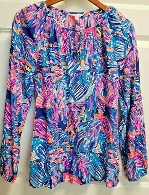 $38 • Buy Lilly Pulitzer Willa Top Blouse Seas The Day Pink Purple Blue Size Med Tie Neck