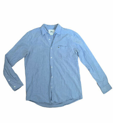 $27.50 • Buy Lacoste Classic Fit 100% Cotton Chambray Blue Button Down Long Sleeve Mens Sz 40