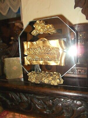 £5 • Buy Vintage Religious Icon~gold Gilded Scroll With The Last Supper~mirror Backed