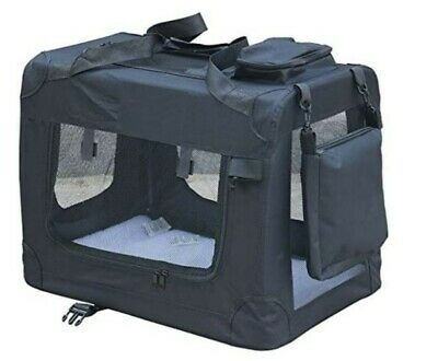£39.99 • Buy Pet Dog Cat Fabric Soft Portable Crate Kennel Cage Carrier L 70 X52x52cm - Black