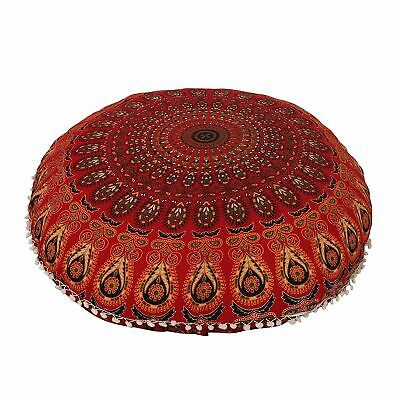 £10.99 • Buy Red Peacock  100% Cotton Large Mandala Round Floor Cushion Cover 32  Inch