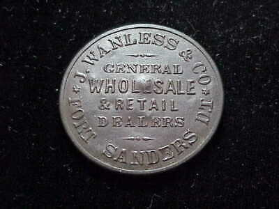$295 • Buy Fort Sanders WY J Wanless & Co 1868 Wyoming Post Trader Shellcard Military Token