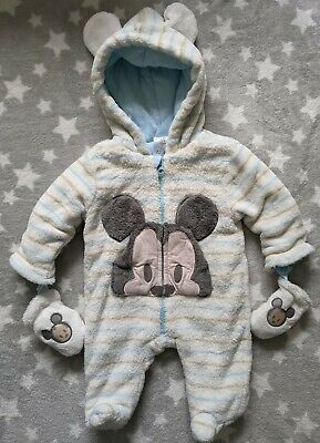£0.99 • Buy Disney Store Mickey Baby Pramsuit/Snowsuit - 3-6 Months - With Mittens