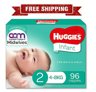 AU30 • Buy Huggies Newborn Nappies Size 2 Infant (4-8kg) 96 Count FREE SHIPPING