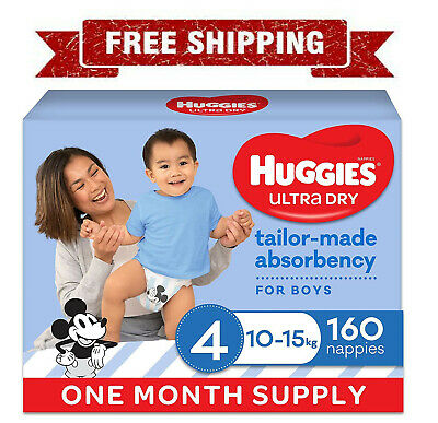 AU65 • Buy Huggies Ultra Dry Nappies Boy Size 4 (10-15kg)1 Month Supply 160 Count