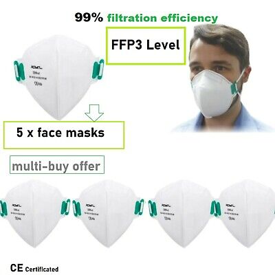 £15.97 • Buy FFP3 5x Face Mask White Safety CE Protection Filter Dust Mouth Cover Respirator