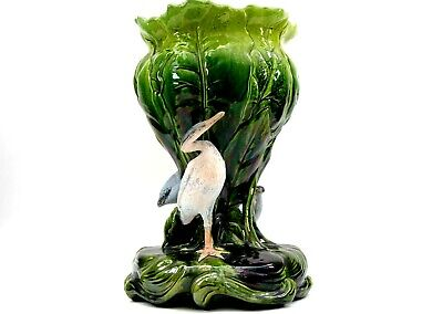 £425 • Buy Antique Bretby Majolica Pottery Jardinière Vase Stork And Lily Pads Circa 1884