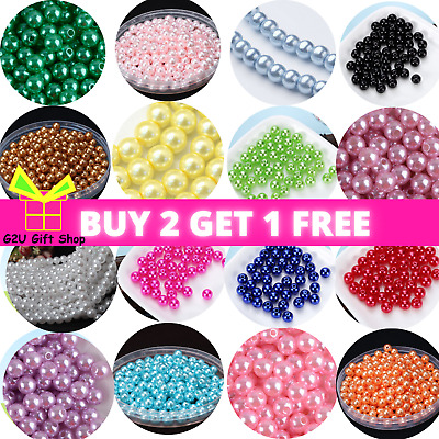 £2.29 • Buy Pearl Beads Faux Glass Round 400 4-10mm Choose Colour Jewellery Making UK Craft