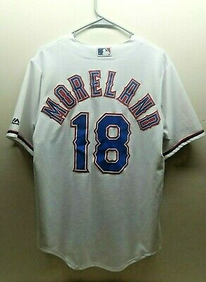 $9 • Buy Majestic Mitch Moreland 18 Texas Rangers CoolBase White/Home Team Jersey Size M