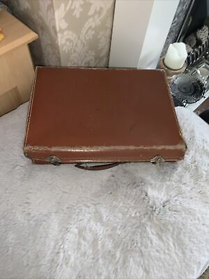 £0.99 • Buy Antique Tan Leather Suitcase Or  Briefcase 1930-40's