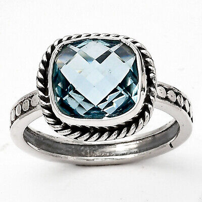 £9.68 • Buy Faceted Natural Sky Blue Topaz 925 Sterling Silver Ring S.7.5 Jewelry E1260