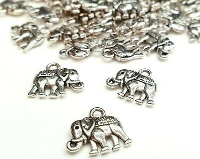 £2.60 • Buy 10 Silver Elephant Charms Jewellery Making Elephant Tibetan Silver Elephants
