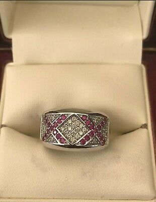 AU1500 • Buy 18ct Solid White Gold Diamond & Natural Ruby Ring Size M Valuation $3470