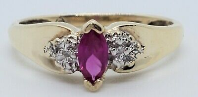 £47.49 • Buy Pretty 10k Yellow Gold Created Ruby Marquise 2 Natural Diamond Size 6.25 Ring