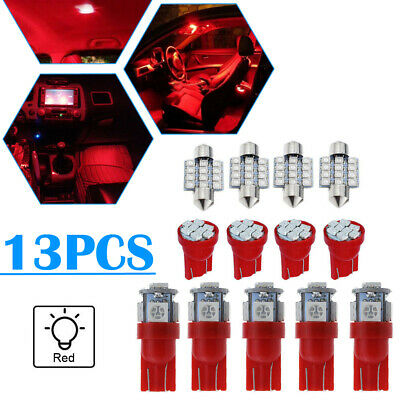 $8.71 • Buy 13Pcs Red Car LED Lights Interior Package Kit For Dome License Plate Bulbs Lamp