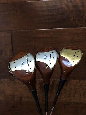 $150 • Buy MacGregor Tommy Armour 2,3, And 4 Persimmon Woods 1941 Original Leather Grips