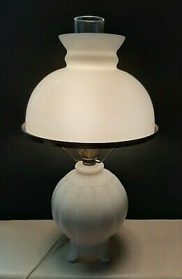 $79.99 • Buy Nice! Vintage White Milk Glass Electric Lamp With Chimney & Hurricane Lamp Shade