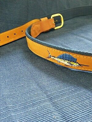 $17.77 • Buy Zep-Pro Sports Fishing Belt Embroidered/w Sword Fish- Size 44 - Navy Blue & Tan