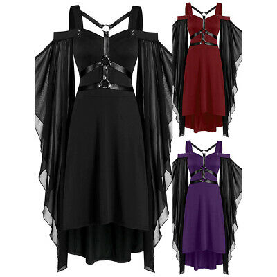 £12.11 • Buy UK Womens Lace Up Gothic Dress Vintage Steampunk Victorian Party Swing Dress