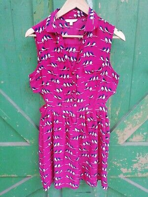 £6.50 • Buy Bird Print Cut Out Dress From New Look Size 12 Dark Pink