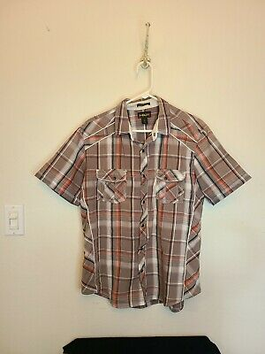 $17 • Buy Mens L HELIX Athletic Fit Shirt S/s Pearl Snap Plaid Western Embroidered