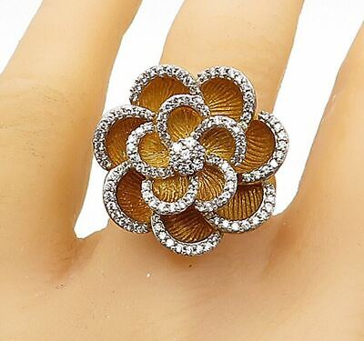 £2.34 • Buy 925 Sterling Silver - Topaz Gold Plated Flower Cocktail Ring Sz 10 - R15525