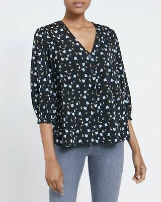 £0.99 • Buy NEW Ladies Front Button Blue Navy Floral Print Top Shirt Blouse Size X Large New