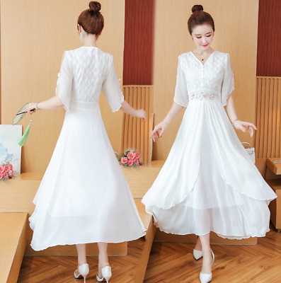 £37.99 • Buy Womens Hanfu Dress Embroidery Floral V Neck Ruffle Slim Fit Casual Chinese Style