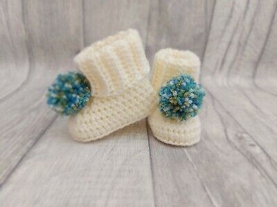 £7 • Buy Handmade Cream Crochet Baby Booties With Poms, Size 0-3 Months