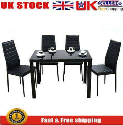 £64.99 • Buy Black Stylish Tempered Glass Table With 4 Faux Leather Chairs For Dinning Room